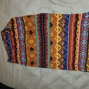 Colorful patterned printed long maxi skirt